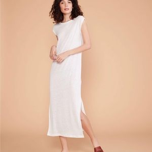 Lou & Grey linen midi tee dress white medium